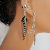 Feather Ear Cuff Black Rooster and Grizzly