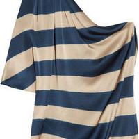 Lanvin | Striped silk-satin one-shoulder top | NET-A-PORTER.COM
