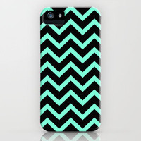 Tiffany Mint Black Zigzag Chevron Pattern iPhone Case by Rex Lambo | Society6
