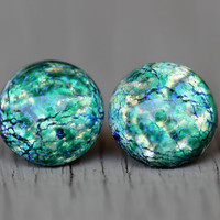 Opal Stud Earrings : Green, Blue, Teal, Yellow Glass Opal Dome Stud Earrings, Sterling Silver Posts, Fake Plugs, Crackle, Artisan Tree