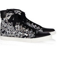 Lanvin | Diamond-print canvas and leather high-top sneakers | NET-A-PORTER.COM