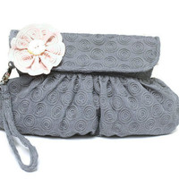 Bridal Clutch Cotton Embroidered Blue Gray by Oyeta on Etsy