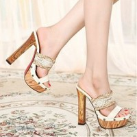 Wholesale Korea split joint color blending net one-style high heels sandals CZ-1079 apricot - Lovely Fashion