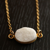 White Agate Druzy Necklace Ice Glacier Bezzle Necklace by OhKuol