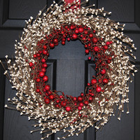 Christmas Wreath  Outdoor Red Wreath  by EverBloomingOriginal