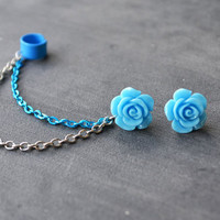 Blue Heirloom Rose Double Chain Blue Ear Cuff (Pair)
