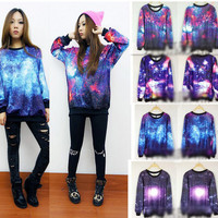 Chic Women's Galaxy Space Starry Print long Sleeve Top Round T Shirt Jumper Top fs62