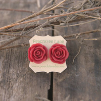 Large Red Rose Stud Earrings Perfec.. on Luulla