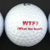 Set of 3- WTF? What The Fuck? Golf Balls on Nike Mojo Golf Balls