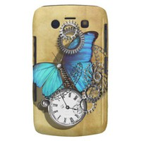 Steam Punk Butterfly Pocket Watch Chains Cogs Blue Blackberry Bold Cases from Zazzle.com