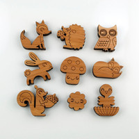 Bamboo Magnets Owl Fox Squirrel Bird Bunny by graphicspaceswood