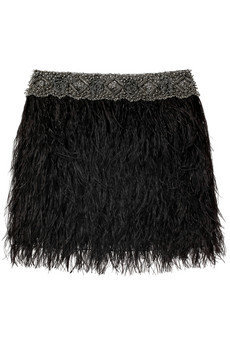 Adam Ostrich feather bead embellished mini skirt - 55% Off Now at THE OUTNET