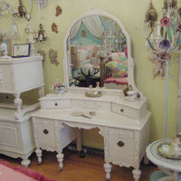 antique shabby chic vanity pink distressed by VintageChicFurniture