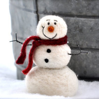Needle Felting kit -Needle Felted Snowman instructions and supplies - DIY Craft Kit