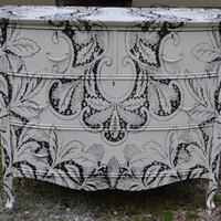 Vintage Hand Painted Black and White Dresser by chicretiques