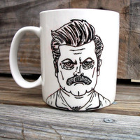 SALE Ron Swanson Manly Man Tribute Coffee Mug / Manly by betwixxt
