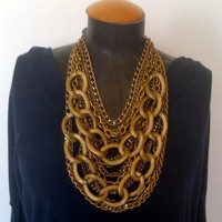 Antique gold multi chain statement necklace