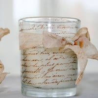 French Script Candle Shabby Chic Hand by inspirationsbyfaith