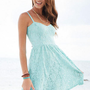 Mint Strappy Lace Dress