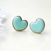 Tiny Mint Green Heart Earrings Studs - Heart Jewelry - Heart Earrings - Christmas Gift