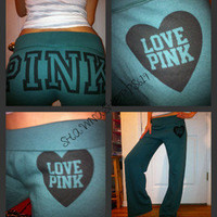 *VICTORIA'S SECRET LOVE PINK Vintage flare FITTED FLARE ARMY SWEAT PANTS RARE M