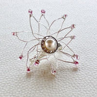 Wire Wrapped Flower Brooch