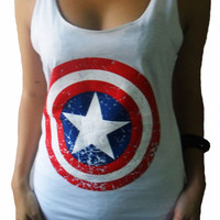 Classic Center Logo Captain America Print White T-shirt Very Thin Cotton Tops Tank Vest Women Size S M