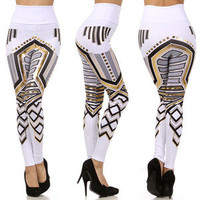 White Aztec Tribal Metallic Gold Foil High Waist Fashion Pants Robot Leggings