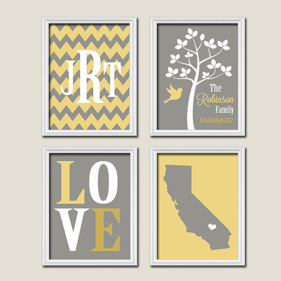 yellow grey gray custom family chevron from trm design home. Black Bedroom Furniture Sets. Home Design Ideas