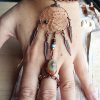 Bohemian Dreamcatcher Slave Bracelet Boho Hippie Stone Tribal Gypsy Copper Twilight Dream Catcher Native American Inspired