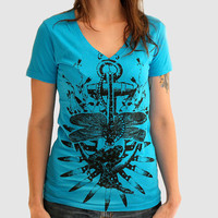 Anchor T Shirt - V-Neck - Hope Amidst Affliction  - Teal Blue Ringspun Cotton - Available in xs, s, m, l, xl and xxl