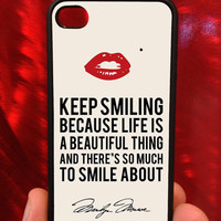 Marilyn Monroe - Keep Smiling Quote - iPhone Case, iPhone 4s, iPhone 4, iPhone accessory, custom iPhone case