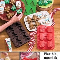 Set of 3 Silicone Christmas Baking Pans for Cupcakes, Muffins, Gelatins, Treats and More! Christmas