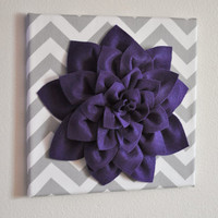 "Wall Flower -Deep Purple Dahlia on Gray and White Chevron 12 x12"" Canvas Wall Art- Baby Nursery Wall Decor-"