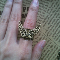 twin angel WING Filigree adjustable Ring by Victorianstudio