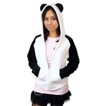 Cute White Panda Hoodie Fleece Anime Inspired LXL by punchbrand