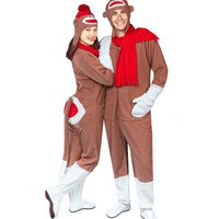 Sock Monkey Costume with Red Butt-Flap for Teens and Adults - Adult Sock Monkey Pajama Costume