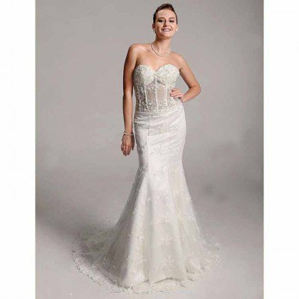 Trumpet / Mermaid Sweetheart Court Train lace Satin Wedding Dress - Wedding Dresses 2011 Collection - Wedding Dresses - Wedding  Events