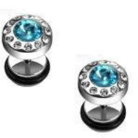 Body Accentz® Earrings Rings Fake CZ Cheater Plug 16 gauge - Sold as a pair