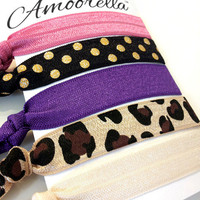 Amoorella | Hair Ties | Clutches | Scarves | Accessories | Fierce Leopard Hair Tie Set Pink/Purple