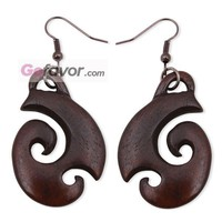 $8.89 Coffe Water Buffalo Horn Organic Dangle Earrings  Gofavor