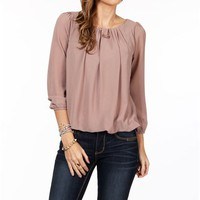 Mocha Pleated Long Sleeve Top