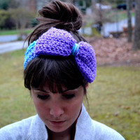 Purple and Blue Crocheted Bow Headband