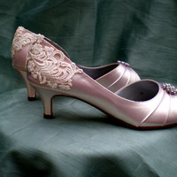 Wedding shoes - Wedding shoe low heel - vintage shoes SALE