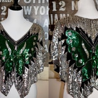 Vintage 1980s Sequined Butterfly Top - Disco Diva
