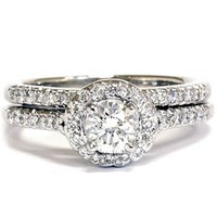 .75CT Diamond Halo Wedding Ring Set 14K White Gold