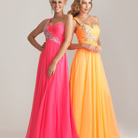 Hot Pink Chiffon Embellished One Shoulder Prom Dress - Unique Vintage - Cocktail, Pinup, Holiday & Prom Dresses.