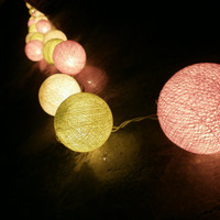 Candy Peach Green and Cream tone mixed Hanging stringlights for party and home decoration indoor and outdoor (20 balls/pack)