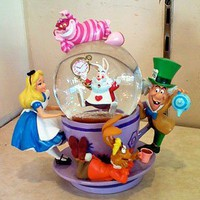 Disney Alice in Wonderland Spinning Snowglobe NEW