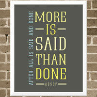 $30.00 Ironic Aesop Quote Print  11x14 Modern Typography by FlourishCafe